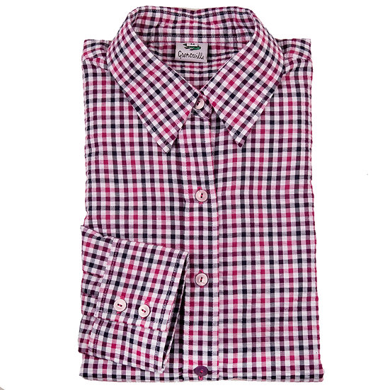 Ladies pink/purple check Seersucker - long Sleeve Fitted - 4511/PP