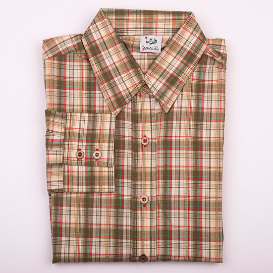 Olive check seersucker long sleeve relaxed fit shirt_Folded