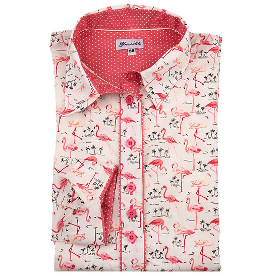 White with pink flamingos print shaped fit shirt_Folded