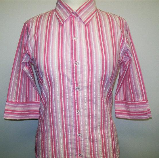 Ladies Multi Pink Stripe Seersucker - 3/4 Sleeve Relaxed Fit
