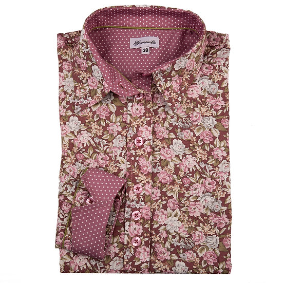 Dusky pink with pink and white flowers with pink and white dot contrast inserts shaped fit shirt_Folded