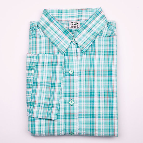 Mint check seersucker 3/4 sleeve relaxed fit shirt_Folded