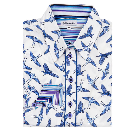 Ladies White with Blue Swallow Print - Shaped Fitted Shirt - SWL/B