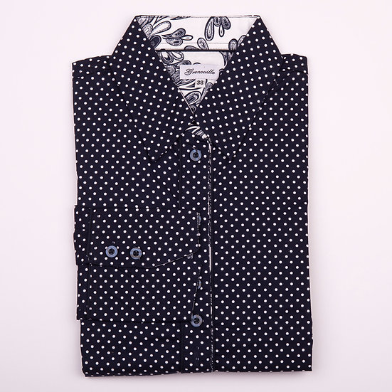 Navy with white spot with navy paisley inserts shaped fit shirt_Folded