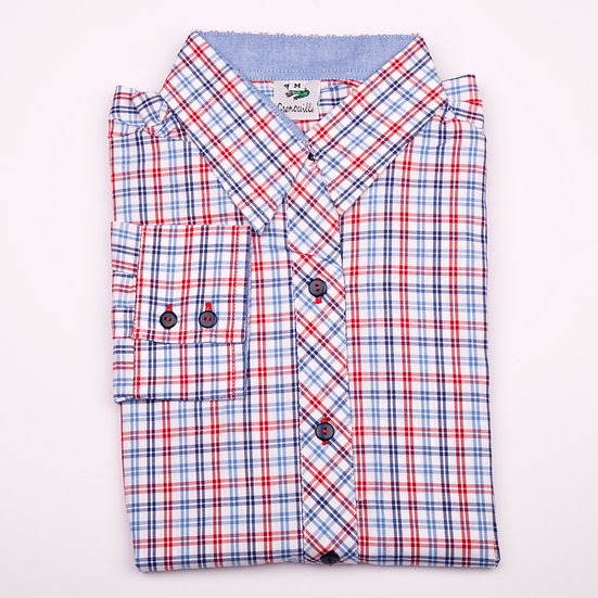Red, Navy and blue check oxford with blue oxford insert details relaxed fit_Folded