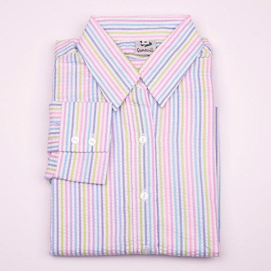 Rainbow stripe seersucker long sleeve relaxed fit shirt_Folded
