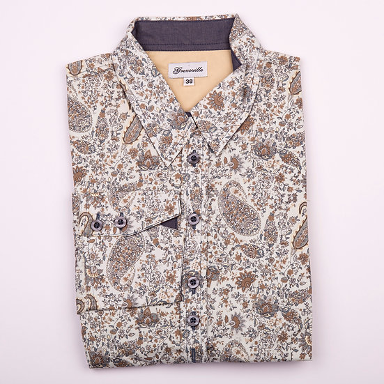 Grey and beige paisley print shaped fit shirt_Folded