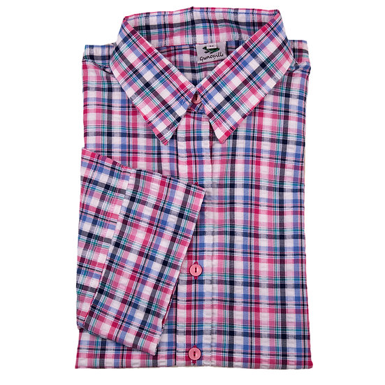 Pink, blue and navy cowboy check seersucker 3/4 sleeve relaxed fit shirt_Folded