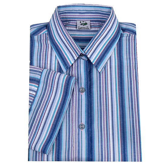 Ladies multi blue striped Seersucker - 3/4 Sleeve Fitted - 669/8