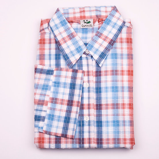 Blue and red check seersucker 3/4 sleeve relaxed fit shirt_Folded