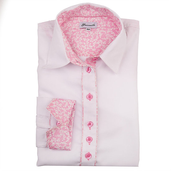 White oxford with pink and white flower contrast insert detail shaped fit shirt_Folded