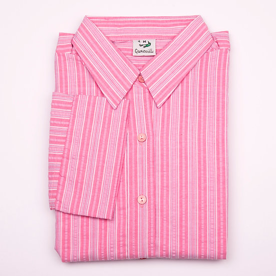 Pink multi stripe seersucker 3/4 sleeve relaxed fit shirt_Folded