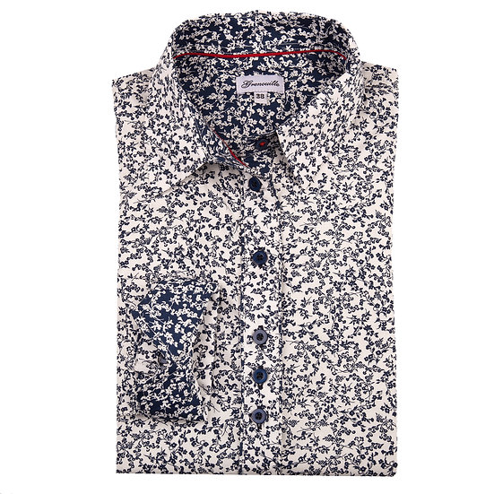 White with small navy flower design with contrasting navy and white flower inserts shaped fit shirt_Folded
