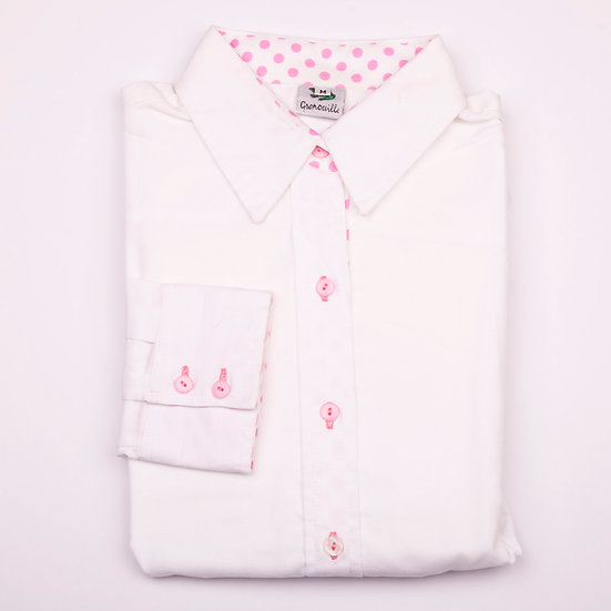 White oxford cotton with white with pink polka dot detail inserts relaxed fit shirt_Folded