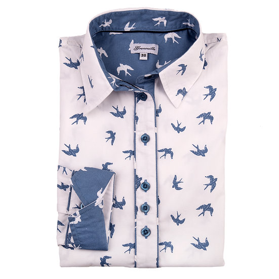 White with blue swallows with contrast blue and white swallow inserts shaped fit shirt_Folded