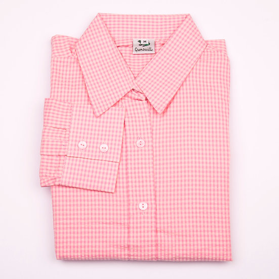 Pink on pink check seersucker long sleeve relaxed fit shirt_Folded