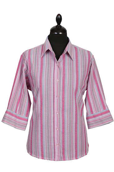 Ladies 3/4 sleeve seersucker (669/4) Pink