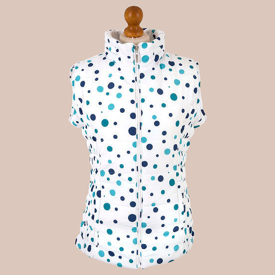 Digitally printed blue blue spot hooded gilet