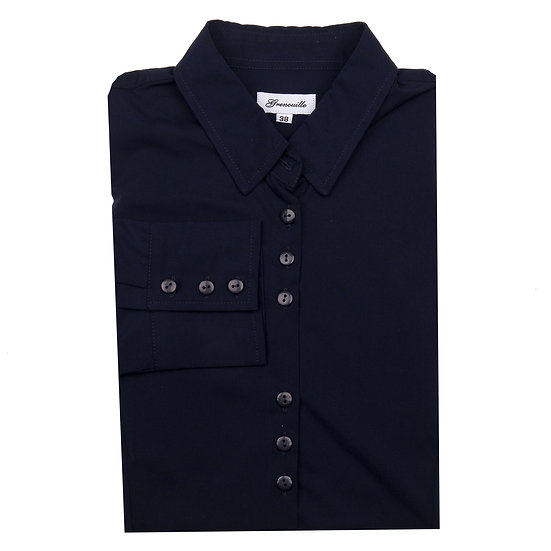 Ladies Grenouille navy bamboo silk shirt - 3BS/N