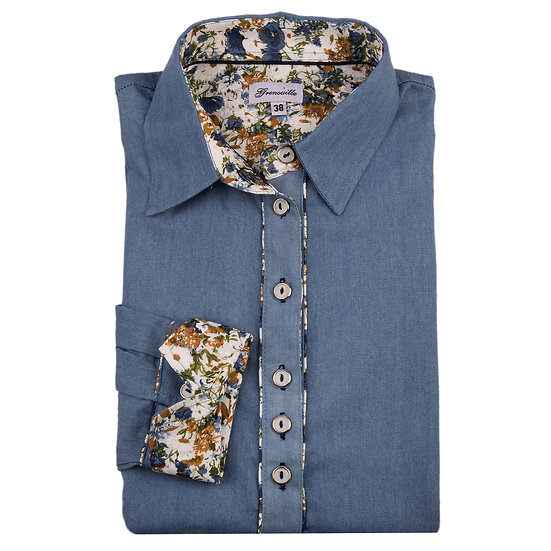 Blue Denim with Blue poppies and daisy inserts shaped fit shirt_Folded