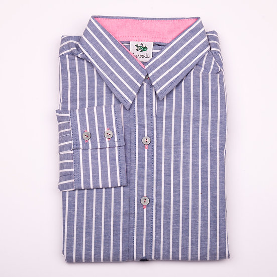 Dark blue and white stripe with pink oxford insert detail relaxed fit shirt_Folded