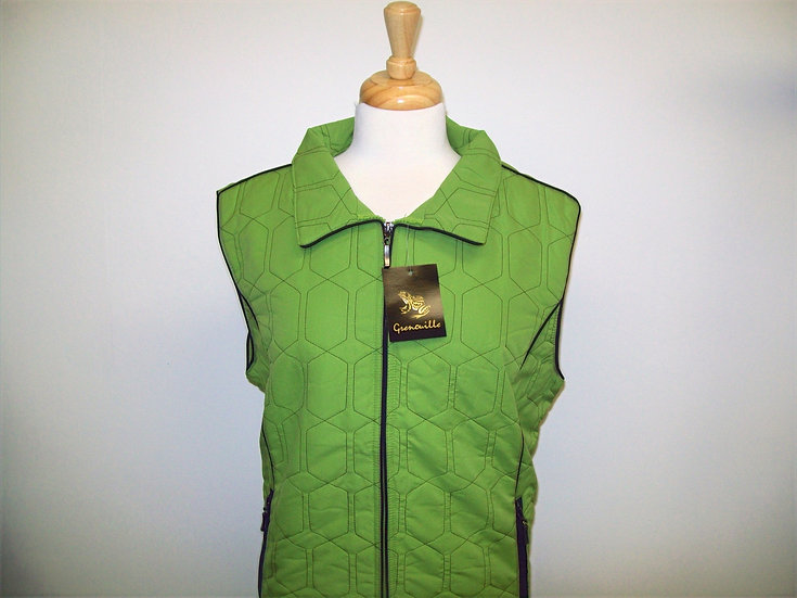 Diamond Gilet - Lime with Black Piping size 16