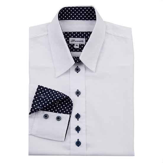 Ladies white Oxford shirt  - Relaxed fit - polka dot inserts