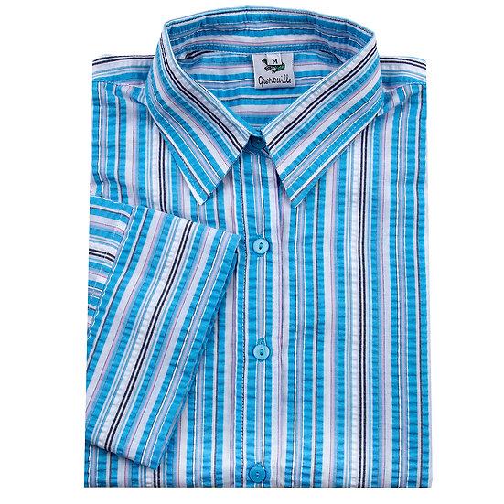 Ladies blue multi stripe Seersucker - 3/4 Sleeve Relaxed Fit - 669/7