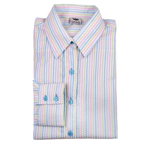 Ladies pastel Striped Seersucker - long sleeve fitted shirt - 884/7