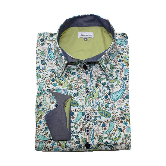 Turquoise and lime paisley print shaped fit shirt_Folded