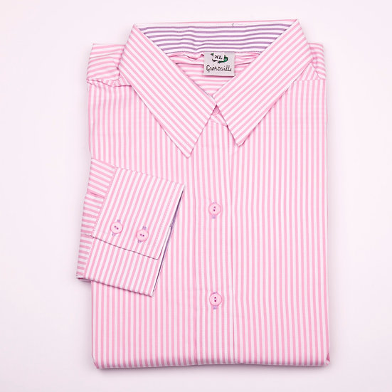 Pink stripe with purple stripe insert details easy care relaxed fit shirt_Folded