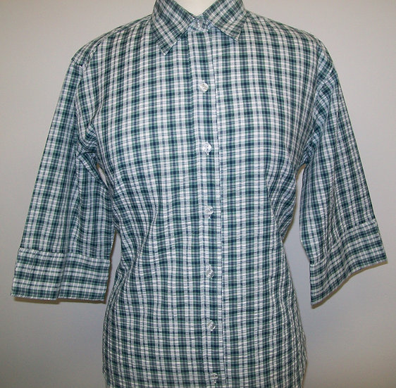 Ladies Green and Navy Check Seersucker - 3/4 Sleeve Relaxed Fit