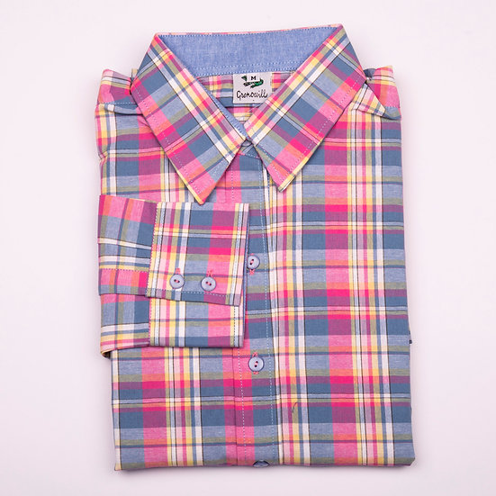 Blue, pink and lemon check oxford relaxed fit shirt_Folded