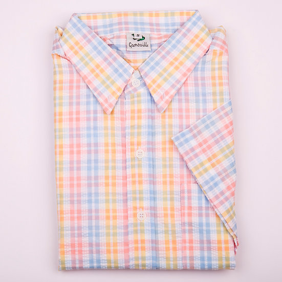 Blue, coral and lemon check seersucker men's short sleeve shirt