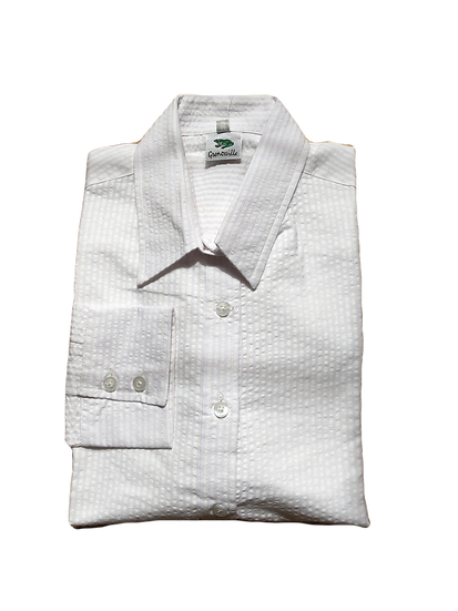 Ladies white Seersucker cotton - long Sleeve Fitted -100W