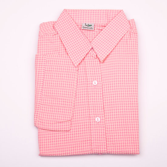 Pink on pink check seersucker 3/4 sleeve relaxed fit shirt_Folded