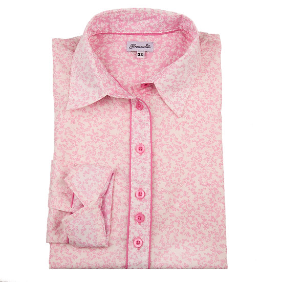 White with small pink flower with pink and white insert detail shaped fit shirt_Folded