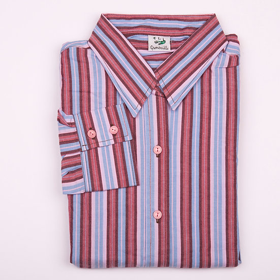 Maroon, pink and blue stripe seersucker long sleeve relaxed fit shirt_Folded