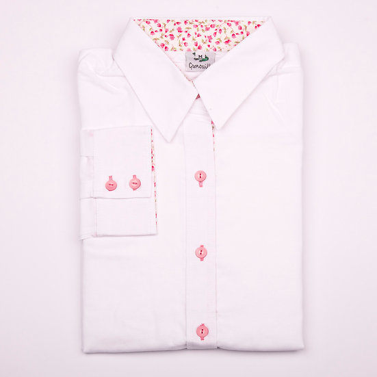 White oxford with pink flower detail insert relaxed fit shirt_Folded