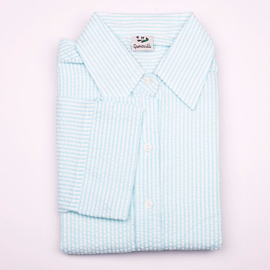 Aqua blue and white stripe seersucker 3/4 sleeve relaxed fit shirt_Folded