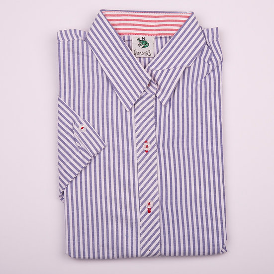Blue and white oxford with contrast red and white oxford insert cap sleeve relaxed fit shirt_Folded