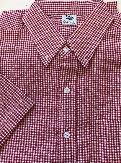 Men's Red Check Seersucker - Men's Short Sleeve