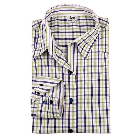 Green and navy check easy care relaxed fit shirt_Folded