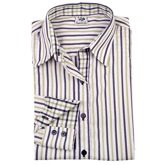 Green and Navy stripe easy care relaxed fit shirt_Folded