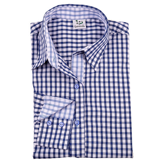 Ladies dark blue & white checked shirt  - Relaxed fit - 2282 dark blue