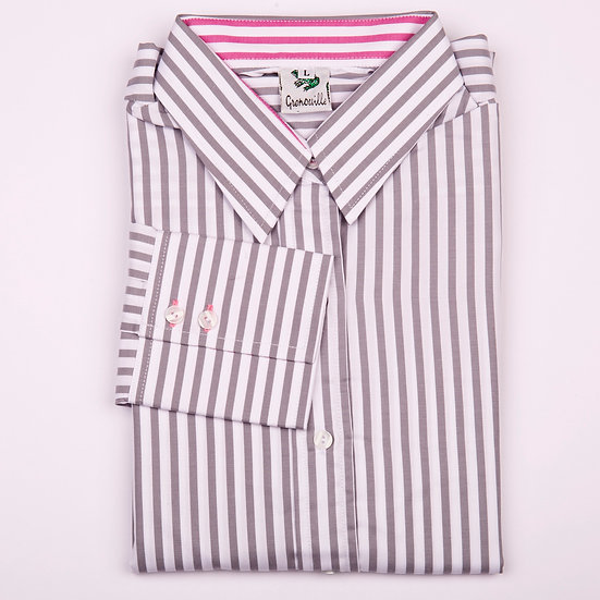 Silver grey and white stripe twill with pink stripe insert long sleeve relaxed fit shirt_Folded