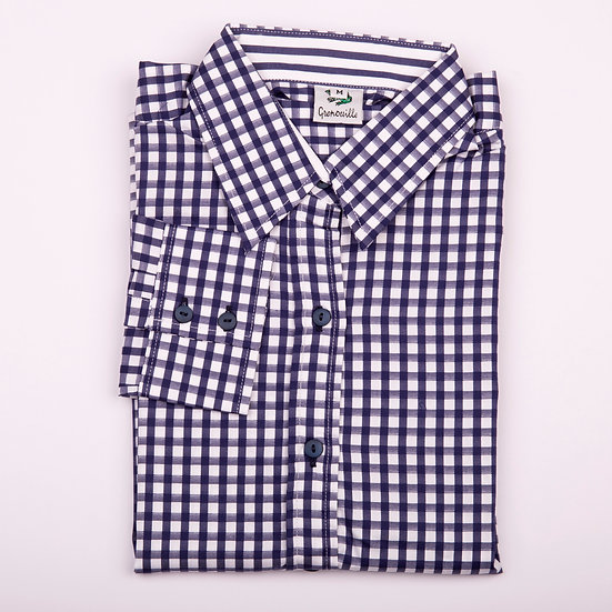 Navy and white check twill long sleeve relaxed fit shirt_Folded