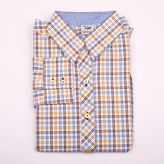 Mustard, brown and blue check oxford with blue oxford insert details relaxed fit_Folded