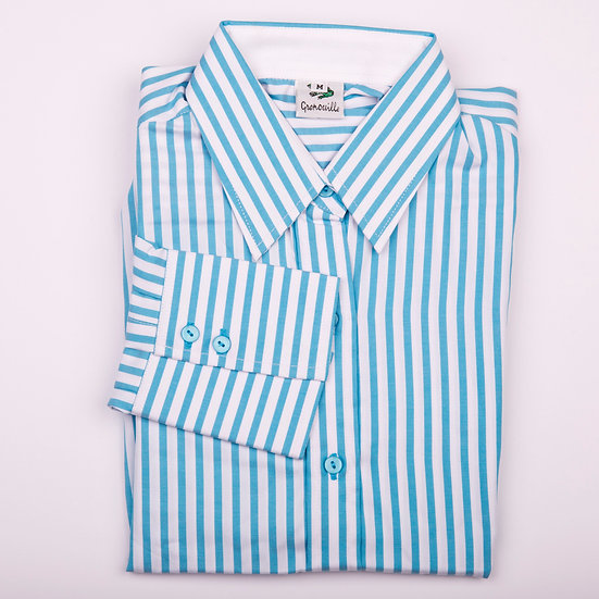 Turquoise blue and white stripe twill long sleeve relaxed fit shirt_Folded