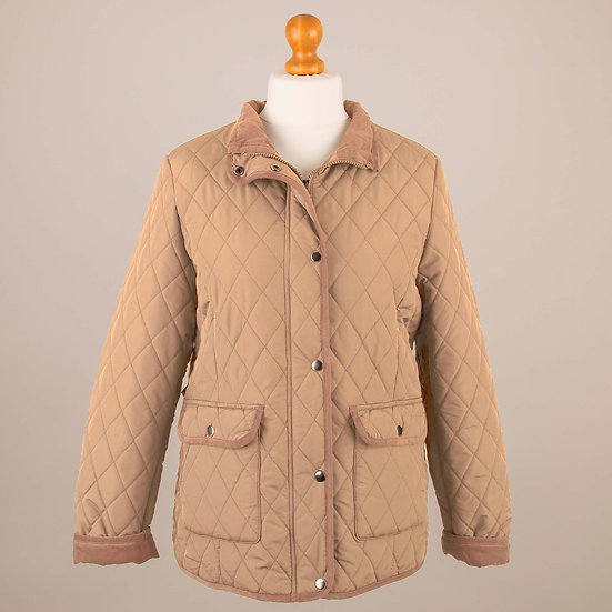 Gold with tan corduroy trim lady's quilted jacket